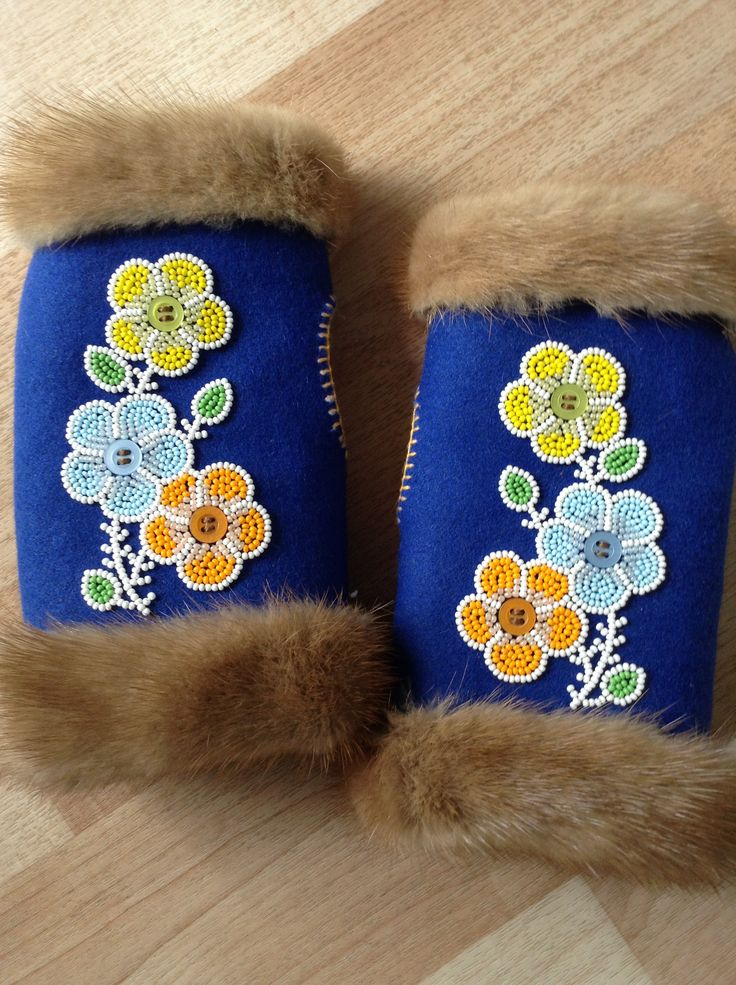 Wristlets that I made out of Melton, fur, and beads! The pattern is from the lady that taught me, and I found the flower pattern here on Pinterest! Carmen Dennis (Tahltan)