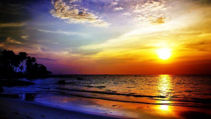 Sea sunset nature landscape hd wallpaper 1366x768 wallpaper ...