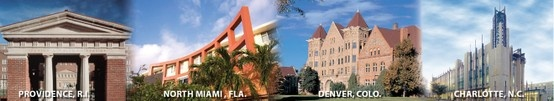 The four Johnson & Wales University Campuses - Providence, RI; North Miami, Fla.; Denver, Colo.; Charlotte, NC. #university #education