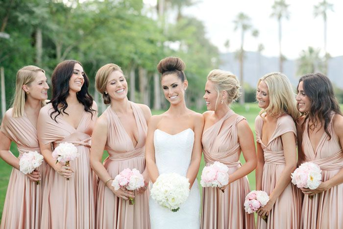 PALM SPRINGS WEDDING: MODERN GLAM AT THE EMPIRE POLO CLUB     Images by Joielala    Planning by Jesi Haack     Two Birds Bridesmaid Dresses    Flowers by JL Designs     PalmSpringsWed.com