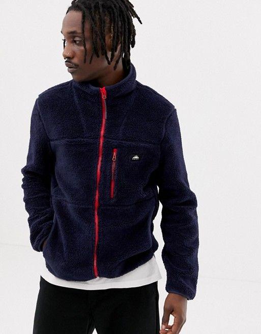 97ae2fb90e6 Penfield Honan borg fleece jacket contrast zip in navy | asos men ...