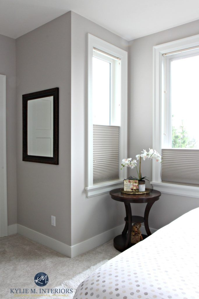 Benjamin Moore Abalone In A Guest Bedroom Wtih Cellular Blinds Greige Carpet And White Trim Kylie M Inter Greige Walls Grey Purple Paint Bedroom Paint Colors