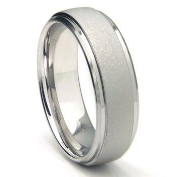 13. Groom's Band: White Tungsten Carbide SandBlast Finish Wedding Band Ring #rebeccaingramcontest #fijiairways #yasawaislandresort
