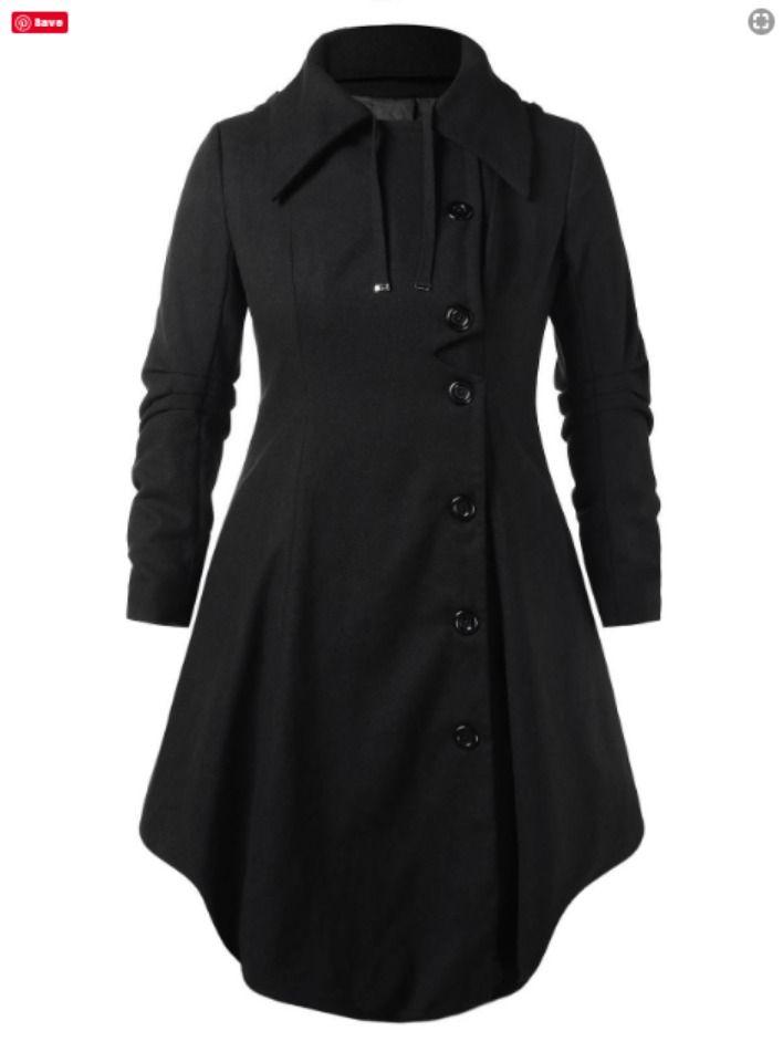 Plus Size Outerwear / Plus Size Hooded Long Woollen Skirted Coat