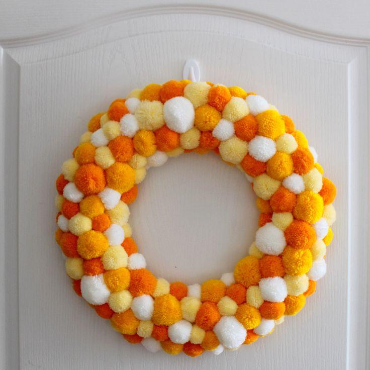 Summer Pom Pom Wreath - Yellow Spring Wreath - Front Door Wreath - Yellow Pom Pom - Colorful Wreath - Home Decor - Door Hanger - Handmade by PomponMyLove on Etsy https://www.etsy.com/listing/384663040/summer-pom-pom-wreath-yellow-spring
