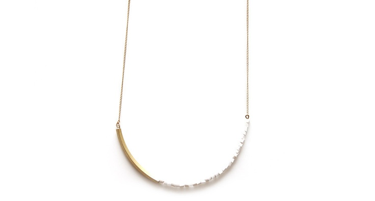 Curved Brass bar and white bead necklace: Brass Blanc by Maslo Jewelry
