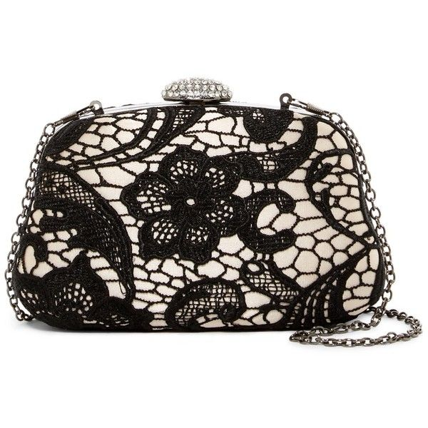 Jessica McClintock Briana Lace Clutch ($29) ❤ liked on Polyvore featuring bags, handbags, clutches, jessica mcclintock, lace clutches, lace purse, strap purse and jessica mcclintock clutches