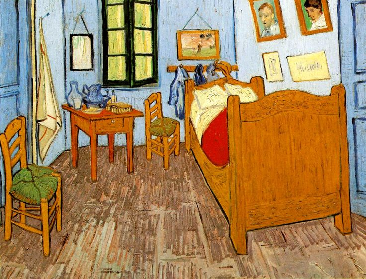Vincent's Bedroom in Arles (#3) - Vincent van Gogh - Painted in late Sept 1889 while in the Saint-Rémy Asylum - Current location: Paris, Musée d'Orsay ..........#GT - NOTE: He painted 3 oils in his bedroom series. The original done in Oct 1888 and the second one were 72 x 90 cm, the 3rd 56 x74 cm. While the composition is the same look closely and you see the subject matter in the hanging pictures is different. Visit www.vggallery.com... for more information