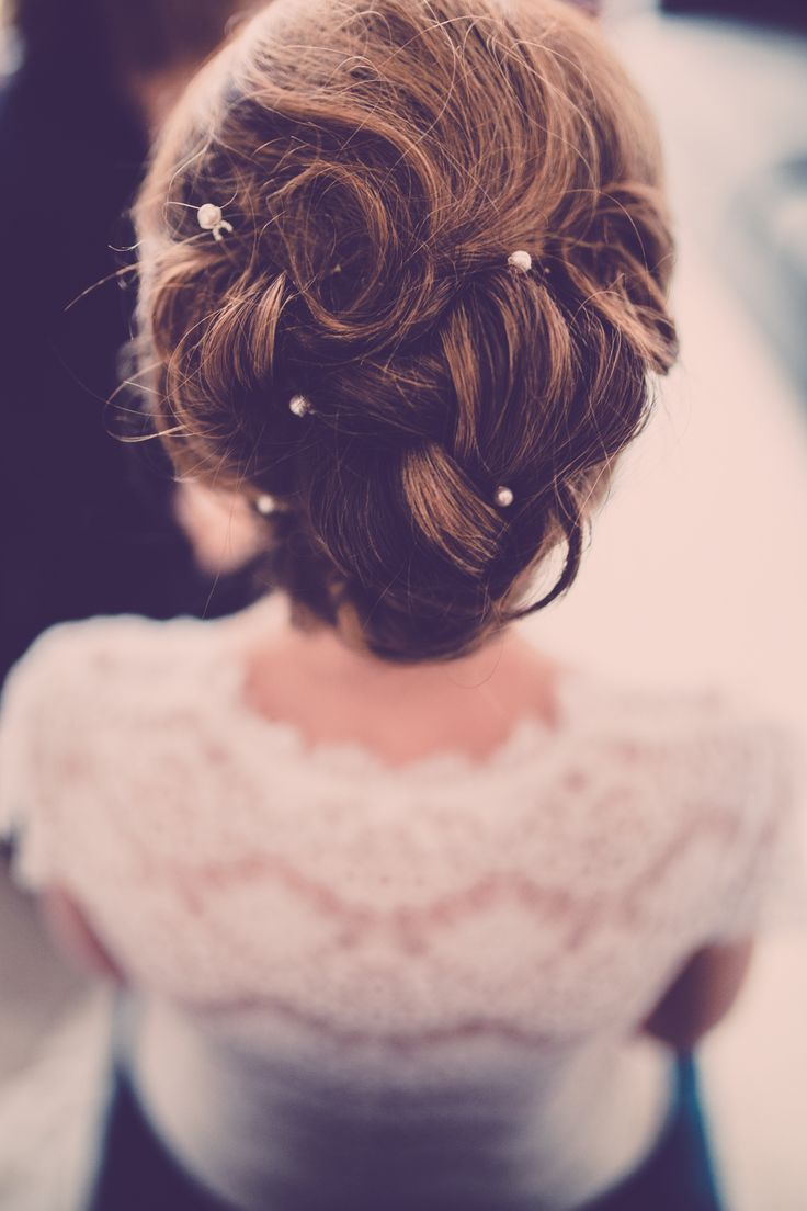 Curled Bridal Updo With Pearl Hair Pins We This