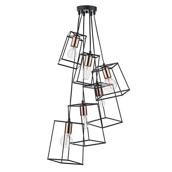 Cascading frames in matt black with bright copper lamp holder detail. Perfect for framing vintage style decorative lamps. Height adjustable at point of installation.