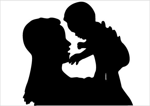 loving mother and child silhouette showing love vector
