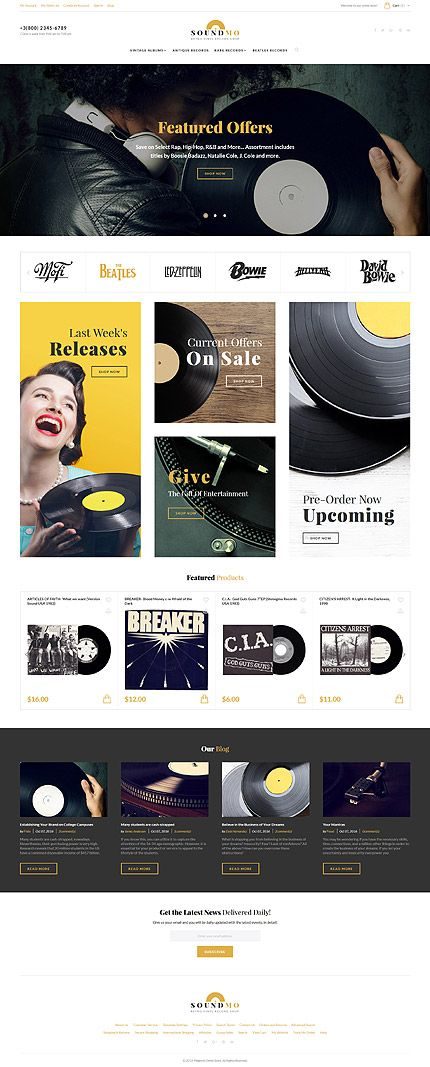 Retro Vinyl Record Online Store #Magento #template. #themes #business #responsive #webshop #Magentothemes