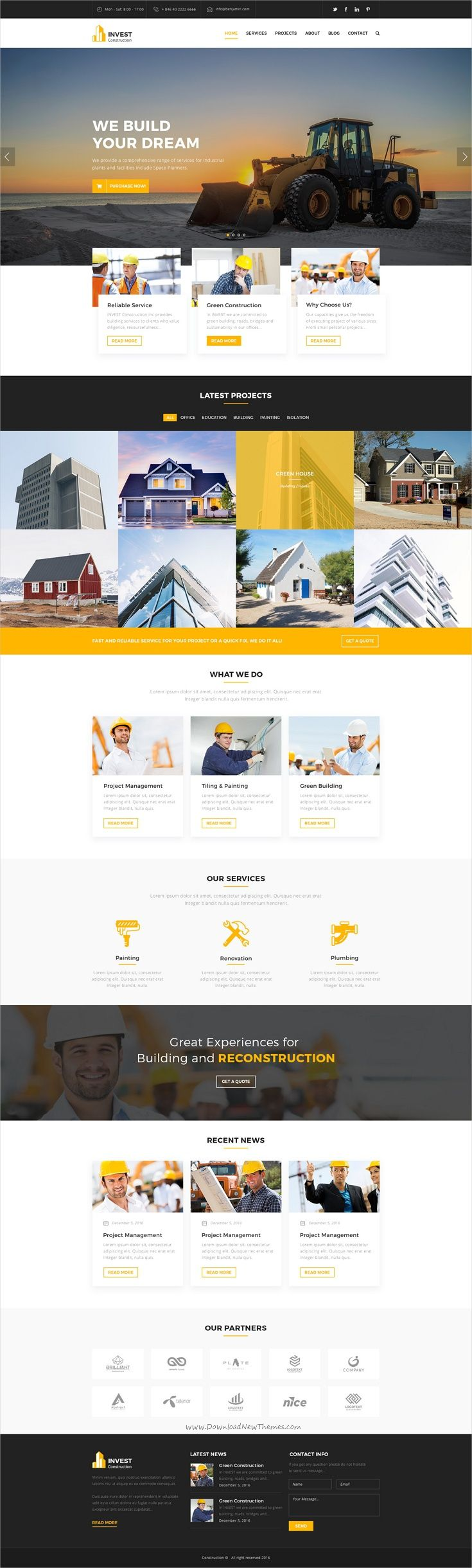 Invest is a wonderful 2in1 #Photoshop template for #construction and #architecture companies website download now➩ https://themeforest.net/item/invest-construction-psd-template/19272348?ref=Datasata