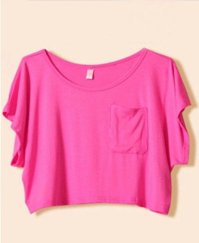 Pure Color Modal Cropped T-shirt Top - Back To School Tops - Back To School Supplies