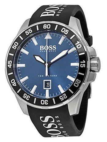 Montre Hugo Boss 1513232 - Quartz - Analogique - Cadran Acier inoxydable Noir et Argent - Bracelet en Caoutchouc Noir - Date