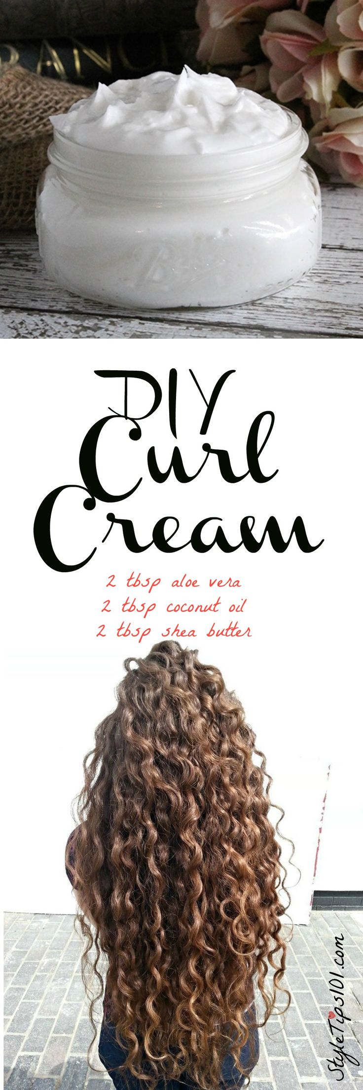 DIY Curl Cream - 2 T aloe, 2 T coconut, 2 T shea butter