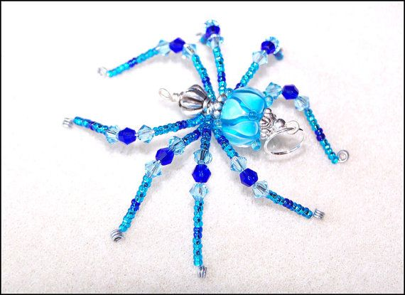 belladonna aqua and cobalt blue glass beaded spider goth sun catcher halloween christmas ornament