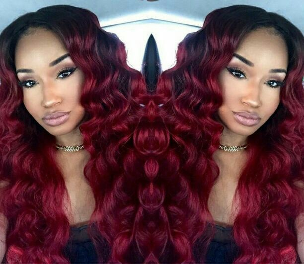Celibrity burgendy red  lace front wig human hair blend 24 inches this wig is high quality can handle light heat can be strightened or curled