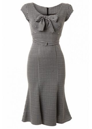 Stop Staring 1940s Style Grey Dogtooth Wiggle Dress