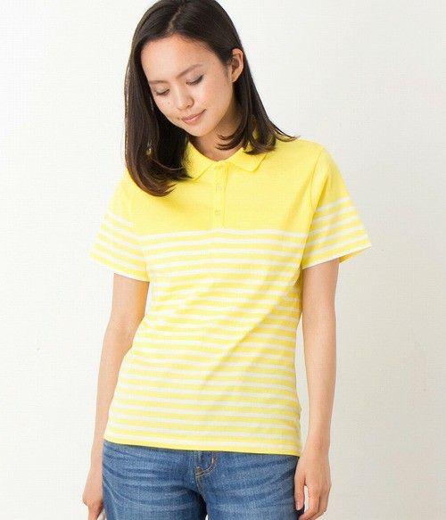 LE JUN WOMEN(ル ジュン ウィメン)のパネルボーダーポロシャツ(ポロシャツ)|イエロー