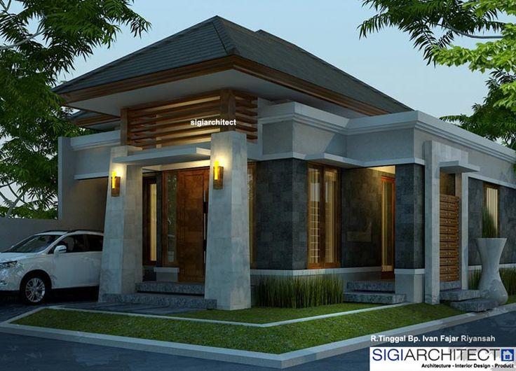 Desain rumah type 54-60, arsitektur rumah bali modern. Berada dikavling sudut dengan ukuran lahan 8 X 12 M2, 2 kamar tidur & kolam ikan belakang rumah.