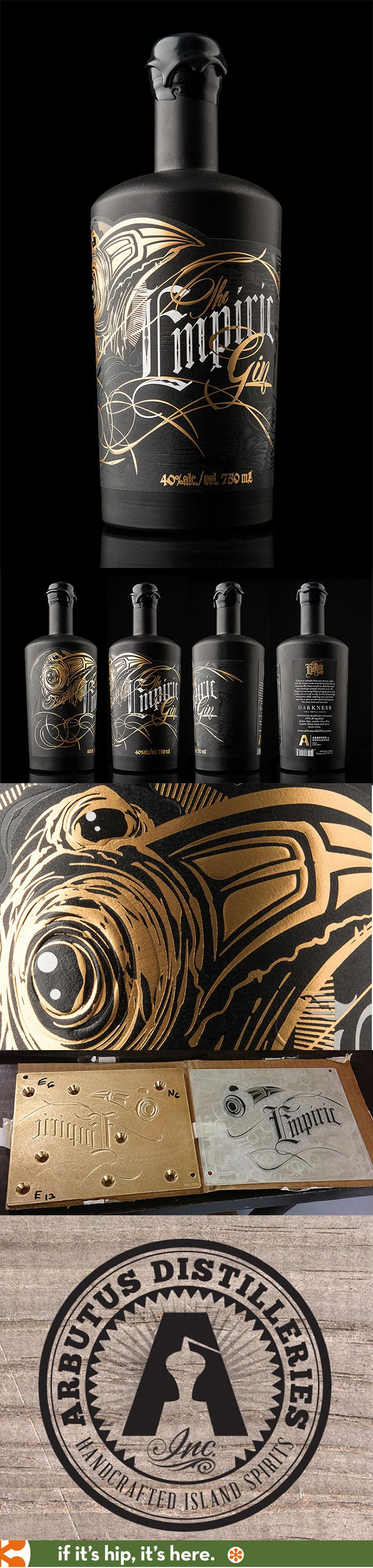 Empiric Gin's foil-stamped embossed wrapped bottle by Hired Guns Creative for Arbutus Distillery.