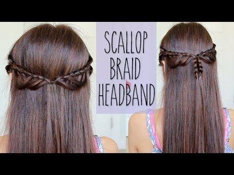 Scallop Braid Headband   Hairstyle for Medium Long Hair Tutorial - YouTube