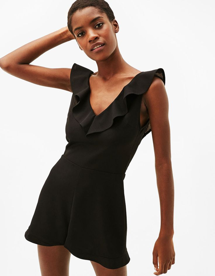 Neoprene jumpsuit with frilled neckline - Dresses - Bershka Israel