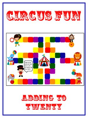Circus Fun - Fun Math Folder Game - Adding 10 to 20 - Common Core Aligned from Lessons For Little Learners on TeachersNotebook.com -  (20 pages)  - Circus Fun - Fun Math Folder Game - Adding 10 to 20 - Common Core Aligned