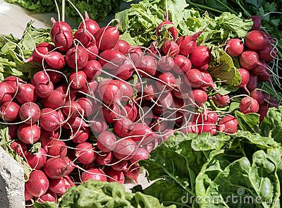 Bunches of freshly picked radishes and spinach leaves on a market stall.
