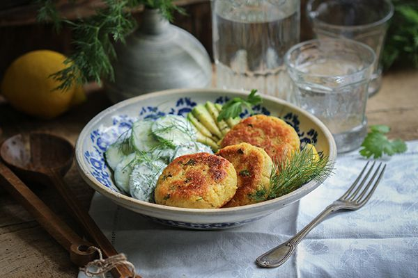 Potato couscous cakes with cucumber and dill salad