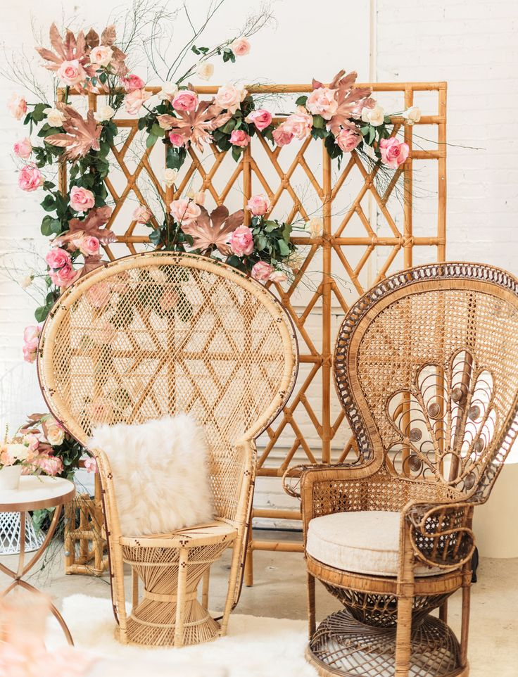 peacock chairs and pink florals 70s Inspired Boho Dinner party