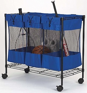 Love this triple storage bin for storing sports equipment! For more tips and ideas for organizing your home and family visit https://www.facebook.com/OrganizingYourHome you may find something you 'LIKE'.
