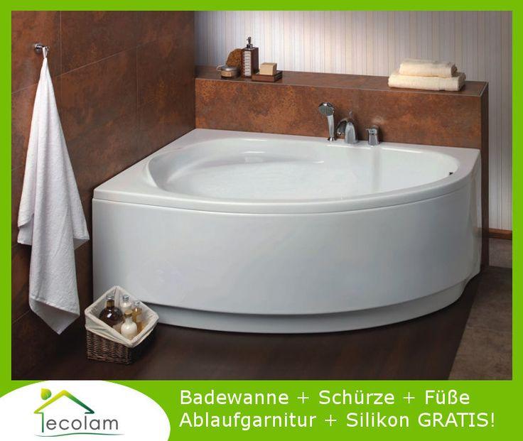 Badewanne Wanne Eckwanne Acryl 150 x 100 cm + Schürze Ablauf Silikon MAREA links