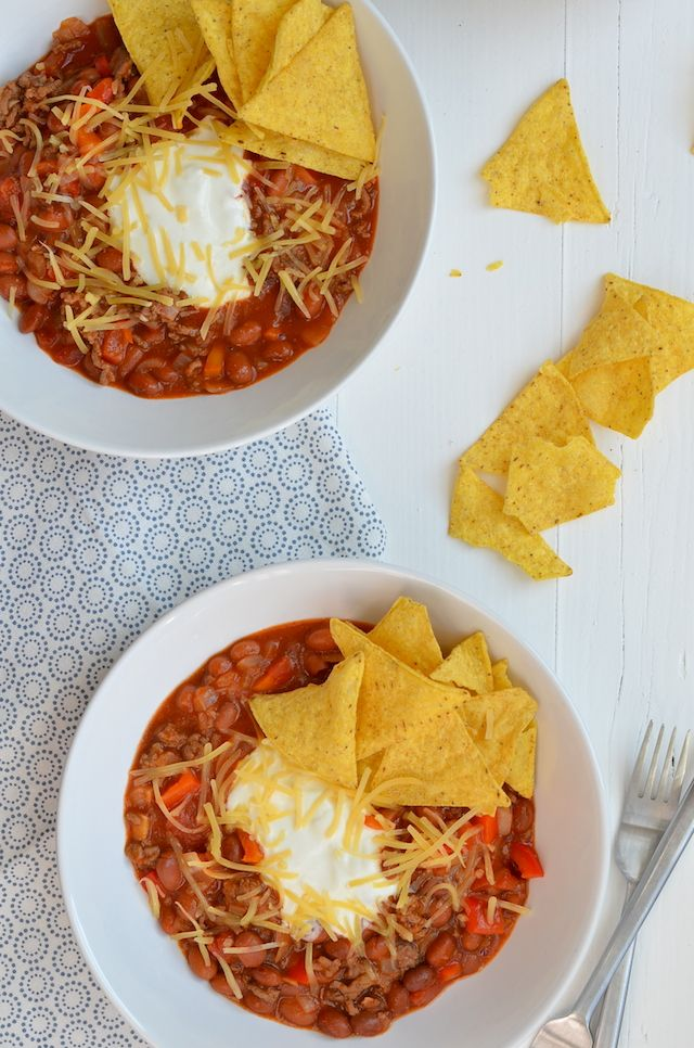 CHILI CON CARNE  [60 min] 250 gr gehakt / 2 uien in stukjes / 1 rode paprika in blokjes / 2 blikjes chili bonen à 400 gr / 2 blikken tomatenblokjes / 1 tl paprikapoeder /  1 tl komijn / 1 tl chilivlokken / zeezout / geraspte kaas / tortillachips / avocado erbij is ook lekker