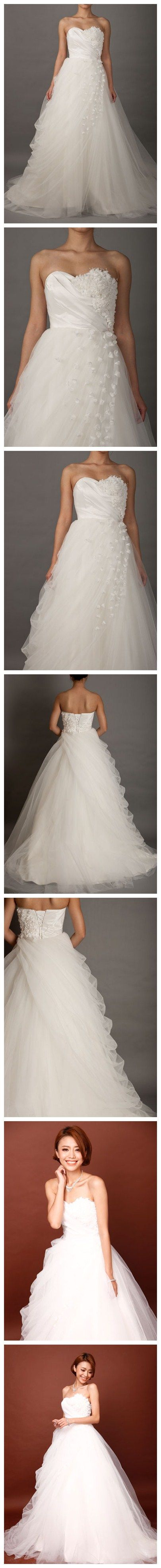 Sweetheart Romantic Wedding Dress with Slanting Flowered Flaps | See more about