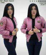 Jual Jaket Bomber Wanita Pilot Pink Baru