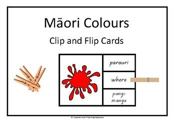 Clip and Flip cards for 11 Mori colours.  A fun, hands-on activity for reinforcing the knowledge and recall of the names of colours. Instructions: Look at the colour splodge on the front of the card.  Read the words on the right.  Decide which one of the Mori words is the correct one for that colour and place a clothes peg on that word.