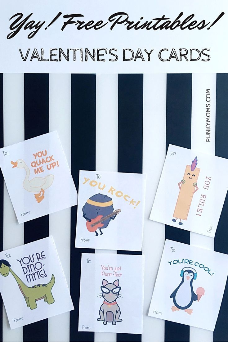 Yay! One less thing to worry about! FREE VALENTINE PRINTABLE available for download! http://punkymoms.com/domestic-goddess/diy/holiday-crafts/free-valentine-printable-download/