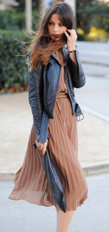 leather jacket and chiffon dress