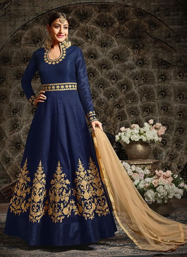 Blue Embroidered Art Silk Party Wear Abaya Style Suit