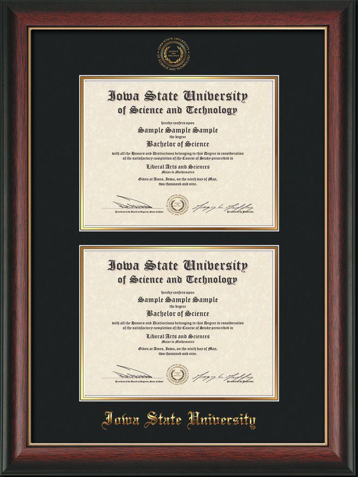 Iowa State U Diploma Frame - Rose Gold L - w/ISU Seal - Double Diploma – Professional Framing Company