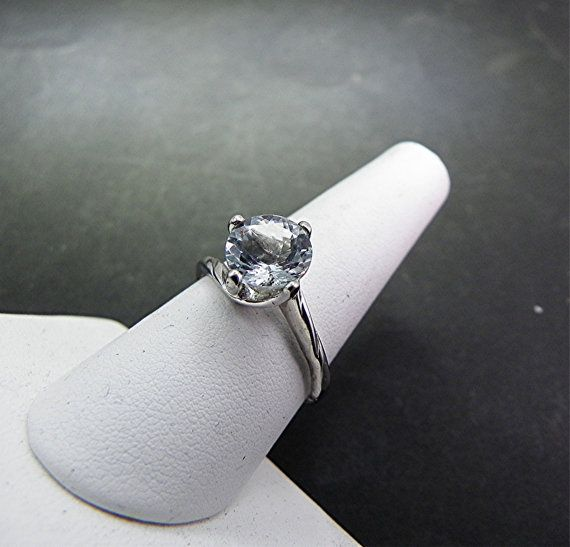 8mm Round Natural Untreated Aquamarine 1.70cts in 14K White gold ring .