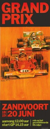 Voss, H. Grand Prix - Zandvoort. Original lithograph in colours, 1971.