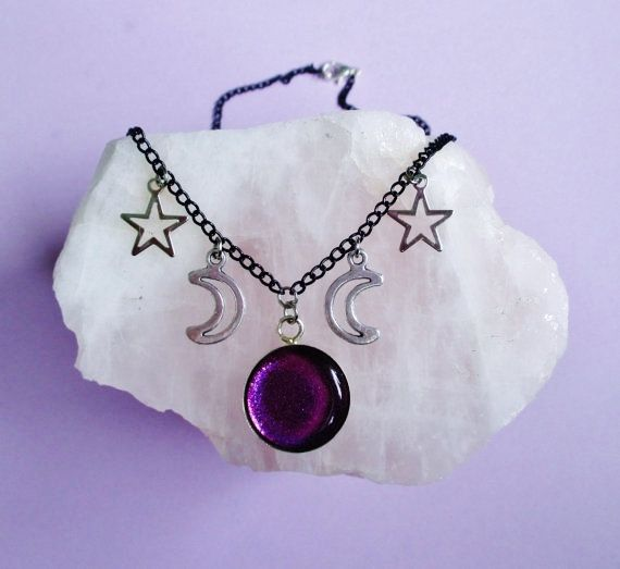 purple celestial necklace, moon necklace, pastel goth, nu goth, pastel grunge