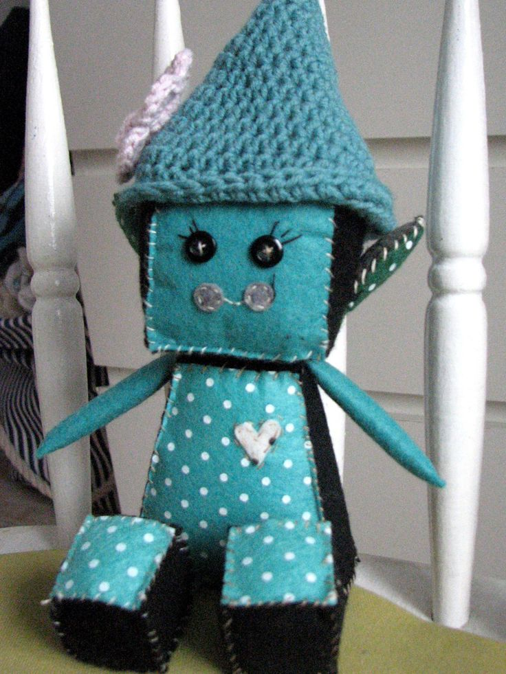 Elf Robot, fall elfina , Autumn Robot Felt Doll, Baby Robot Nursery Plush, Robot Nursery, with croched hat by Lillymagazinche on Etsy