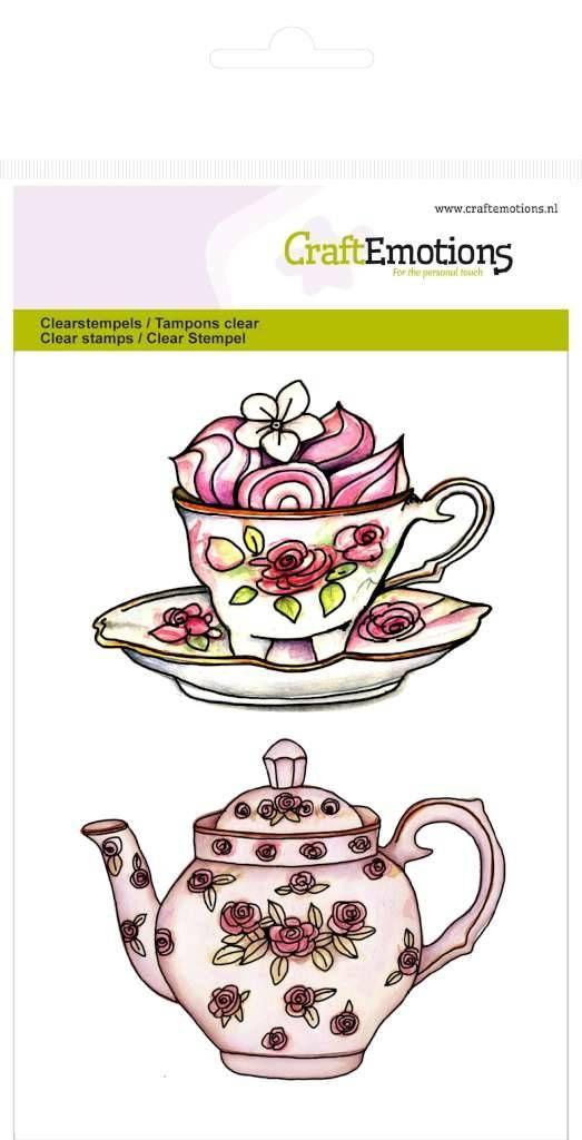 Crealies und CraftEmotions Transparent stempel A6, Teekanne, Tasse und…
