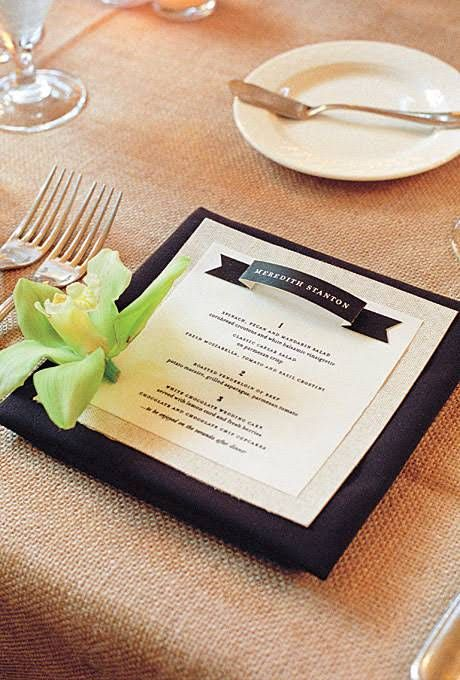 Brides: Creative Wedding Menu Displays   Invites %26 Stationery   Wedding Ideas   Brides.com