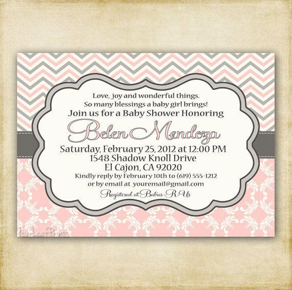 Pink & Gray Chevron Invite