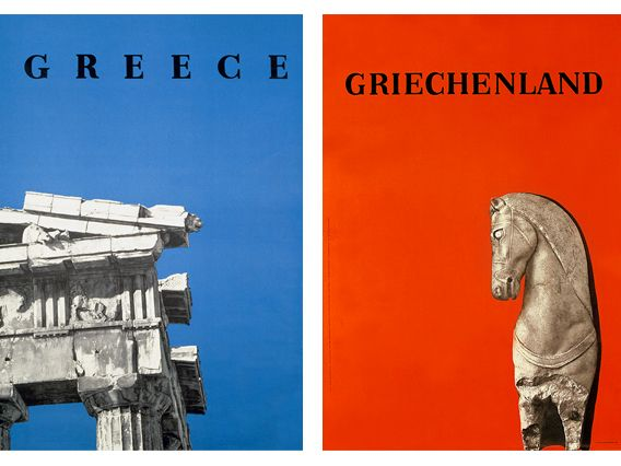 Michalis Katzourakis, poster for the Greek National Tourist Organization, 2nd prize in the International Tourist Poster Exhibition of Livorno, Italy, 1961 (left) and poster for the Greek National Tourist Organization, 1960 (right).